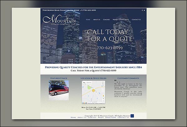 mountain coach website design by Vibrant Web Creations in Palmetto GA